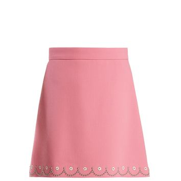 Floral stud-embellished wool-crepe mini skirt | Miu Miu | MATCHESFASHION.COM UK