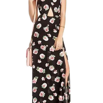Black Floral Cross Cut-Out Slit Maxi Dress