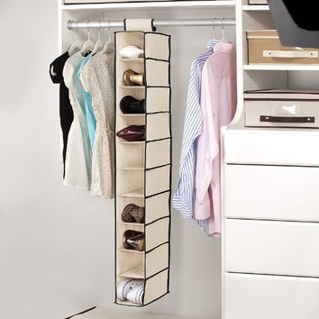 Kennedy Home Collection 5178 10 Shelf Hanging Shoe/Purse Organizer, Black/Cream