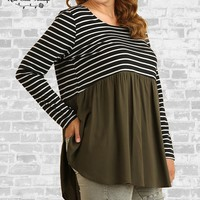Striped Babydoll Tunic - Black / Olive