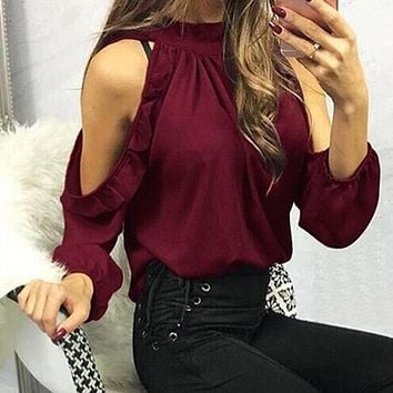 SHIRT Women Blouses Summer Fashion Sexy Off Shoulder Shirts Hollow Out Casual Top