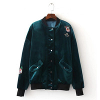 Appliques Flower Butterfly Embroidery Velvet Thin Padad Pilots Jacket Woman Velour Loose Bomber Jacket Coat Outerwear