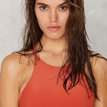 Nasty Gal Alina Mix & Match Halter Bikini Top - Rust