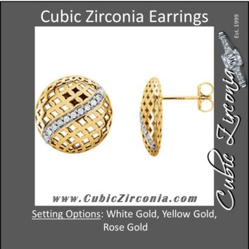 Cubic Zirconia Earrings- Round Pierced-Styled Button