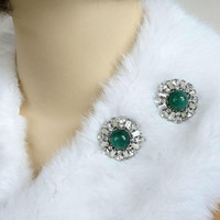 Flawed Emerald Glass Cabochons & Clear Rhinestone Brooches or Scatter Pins Set of 2