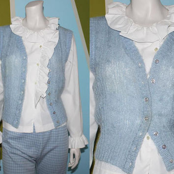 Vintage 70s Sky Blue Sweater Vest / MOHAIR WOOL Cable Knit Sweater / Baby Blue Sleeveless Sweater / Winter Layer Button Down / Small