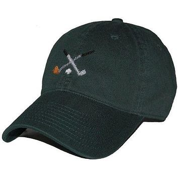 89c26bfee0b Crossed Golf Clubs Needlepoint Hat in Hunter Green by Smathers   Branson