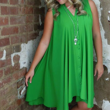 Umgee Green Trapeze Dress