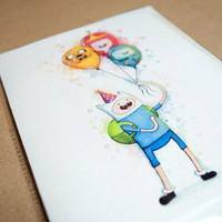 Adventure Time Birthday Card Finn with Balloons, Jake BMO Princess Bubblegum Folded Greeting Card - 1pc