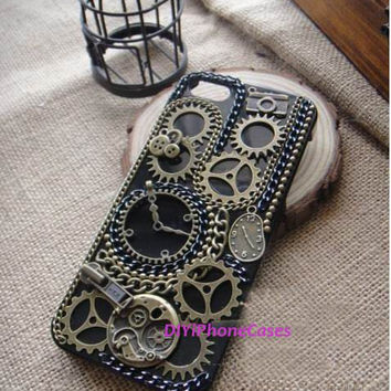 Punk iPhone Cases iPhone 4 Case iPhone 4s Cover iPhone 5 Case new htc one case, samsung galaxy s4 Case TIME Gear wheel element unique Cases