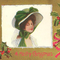 Elegant Fashion Forward Lady in large Bonnet on Antique Christmas Postcard 1909 Lavish gold with accents of holly