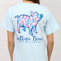 Feather Print Proud Pig Short Sleeve Tee {Chambray}