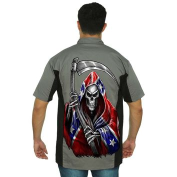 Men's Mechanic Work Shirt Confederate Rebel Flag Grim Reaper