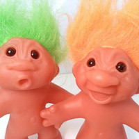 "Vintage Dam Trolls 1986 lot of 2 orange and green hair surprised happy troll doll figurine nostalgia toy 90s 80s 4.5 "" inch thomas dam"