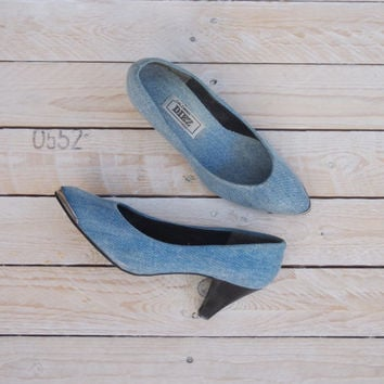 Speak & Spell Shoes - Vintage 1980s Denim Pumps - Vintage 80s Metal Toe Cap Acid Wash Mid Pointy Heels