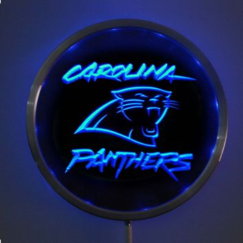rs-b0066 Carolina Panthers LED Neon Round Signs 25cm/ 10 Inch - Bar Sign with RGB Multi-Color Remote Wireless Control Function
