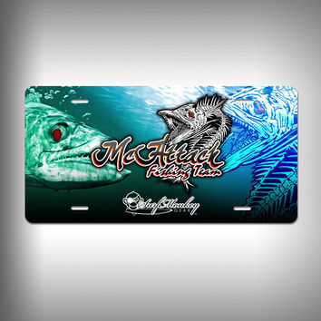 McAttack Fishing Team Custom License Plate with Custom Text and Graphics Aluminum Front Plate