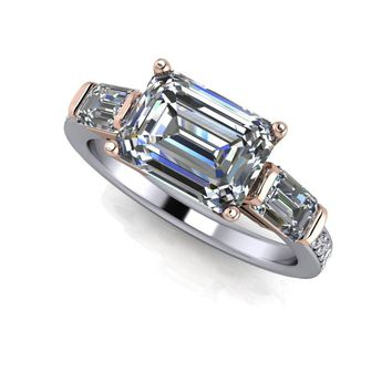 Emerald Cut Three Stone Ring - Two Tone Ring - Celestial Premier Moissanite Three Stone Ring