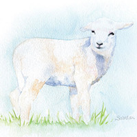 Lamb Original Watercolor Painting - Sheep - Nursery Art - 9 x 12