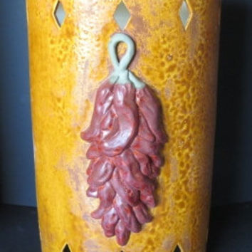 Red Chile Ristra 3D attached Handmade to Order Ceramic Wall Sconce