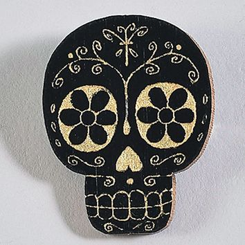 Black & Gold Wood Sugar Skull Pin
