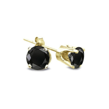 18K Yellow Gold Over Silver Round Black Cubic Zirconia VS1 Earrings