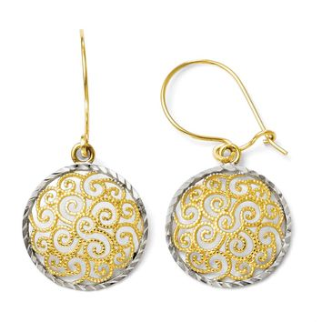 15mm Filigree Circle Dangle Earrings in 14k Yellow Gold & Rhodium