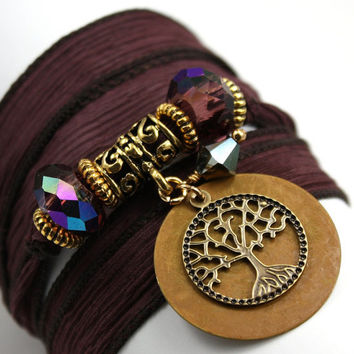 Hand Dyed Silk Wrap Bracelet - Bittersweet, Patina Sand Disc , Antique Brass Tree of Life, and Heliotrope Swarovski Crystals