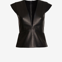 MASON BY MICHELLE MASON DEEP V LEATHER FRONT TOP