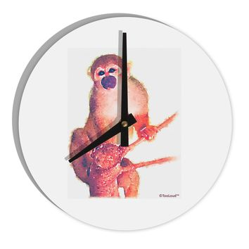 "Monkey in Tree Watercolor 8"" Round Wall Clock"