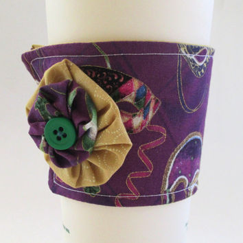 Mardi Gras Coffee Cup Cozy / Masquerade Masks Drink Sleeve / Mask