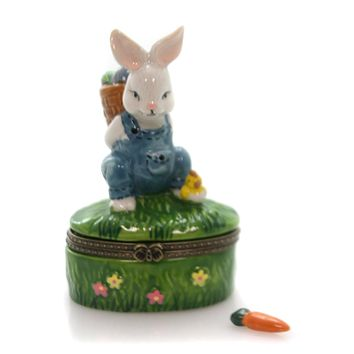 Hinged Trinket Box Bunny Carrying Easter Eggs Trinket Box