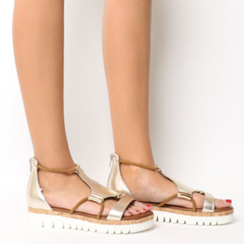 Inuovo Flat Sandals Gold - Sandals