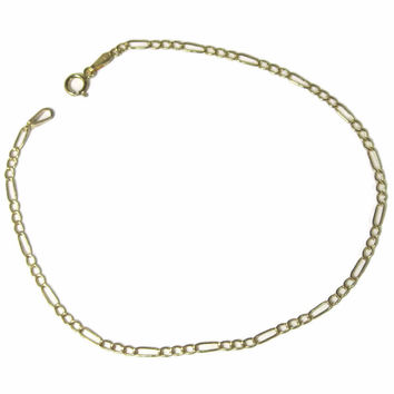 Vintage Italian 10K Yellow Gold 2mm Figaro Bracelet 7.5 Inches