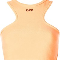 Orange Cream Contrasting Logo Tank by OFF-WHITE