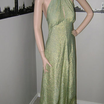 Rare Sexy 60's Sparkle Dress Glamorous 1960's METALLIC SEAFOAM GREEN & Gold Shimmer Sparkling Lurex Halter Maxi Dress Sixties Mad Men