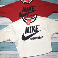 NIKE Archive Fashion Casual Long Sleeve Women Top Pullover Sweatshirt Red G