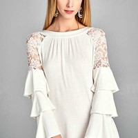 Emerald's Solid Jersey Holiday Shoulder Lace Dress with Three Tiered Bell Sleeves