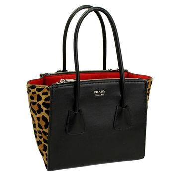 Prada Black Leather/Leopard Tote Bag With Shoulder Strap 1bg625