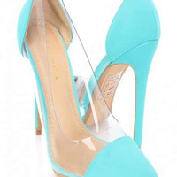Mckensie Luxury Clear Sides High Heels Turquoise