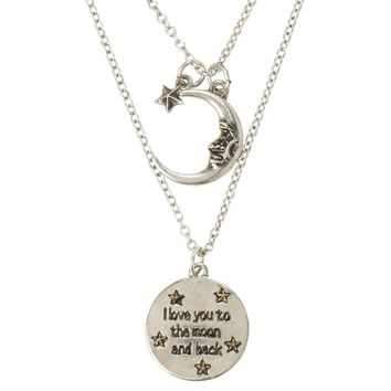 Licensed cool I Love you to Moon and Back Best Friends BFF Besties 2 PK Necklace Set LoveSick