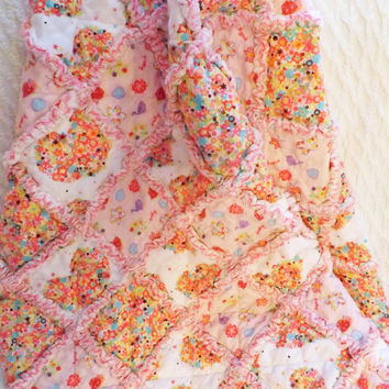 Pink Hearts and Flowers Rag Quilt, Flannel, Baby, Toddler, Girl, Handmade