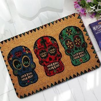"Doormats Funny Sign "" Skull Head Home Decorative Door Mats Magic Welcome Floor Mats Front Porch Rugs LYN19"