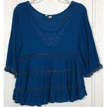 Japna Embroidered Peasant Babydoll Top Blue Crochet Swing Blouse Boho Hippie L