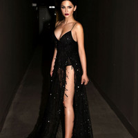 Sexy black halter straps sequins mopping the floor dress slit maxi dress
