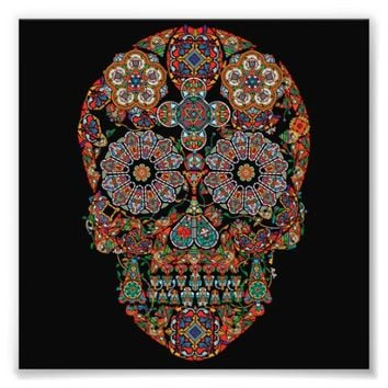Colorful Flower Sugar Skull Photo Print