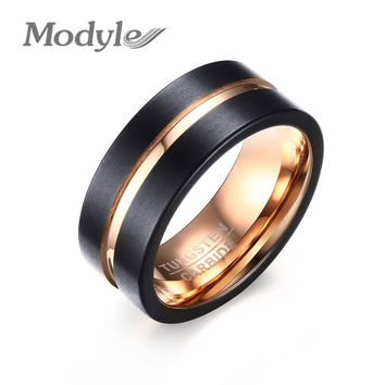 Mens Tungsten Carbide Ring Matte Wedding Band with Rose Gold-Color