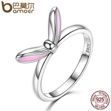 BAMOER Authentic 925 Sterling Silver Sweet Pink Enamel Rabbit Ears Finger Rings For Women Fashion Sterling Silver Jewelry SCR058