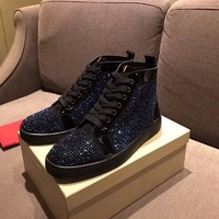 Best Online Sale Christian Louboutin CL Louis Strass Men's Flat Black Blue Shoes