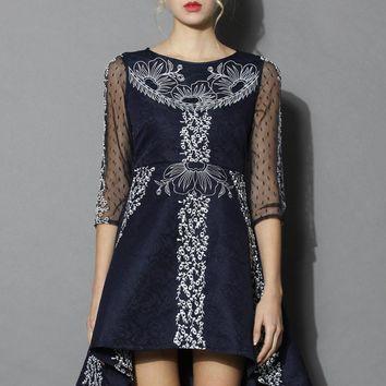 Floral Ribbon Embossed Waterfall Dress with Mesh Sleeves